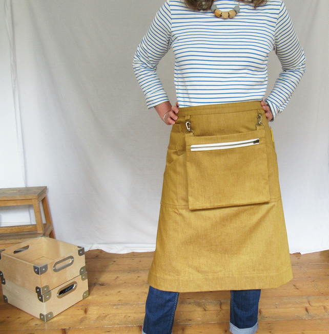 Craft Fair Apron With Detachable Cash Bag - in golden ochre denim No12