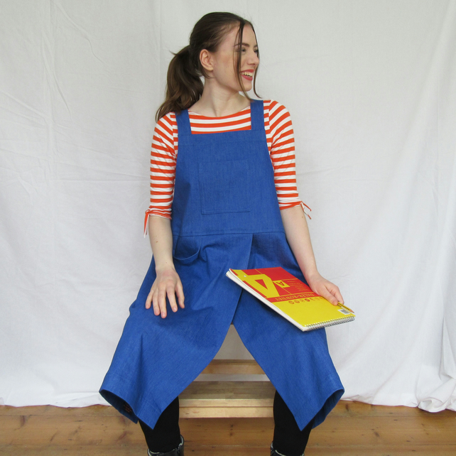 Pottery Apron, Split Leg Front, Heavyweight Denim, Cross Back, Bright Blue No4:5