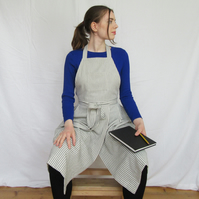 Potters Apron, Pleated Ticking Stripe with Split Leg Skirt, Craft Apron No14:2