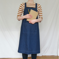 Blue Denim Crossback Apron - easy-fit - handmade for artists & makers No4:2