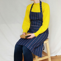 Work Apron in Beautiful Woven Stripe Denim  - womens art & craft apron.