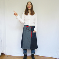 One of a Kind, Denim Patchwork Japanese Boro Inspired Apron, Upcycled, No 16:1