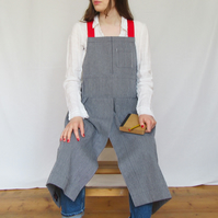 Crossback Potters Apron, Hickory Stripe Denim, adjustable, split leg. No7:2