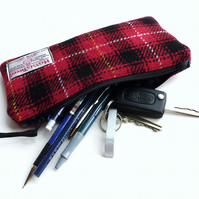 HARRIS TWEED tartan pencil case, McIver red and black tartan