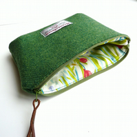 Emerald green makeup bag, cosmetics case in HARRIS TWEED