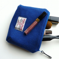 Blue wool makeup bag, HARRIS TWEED cosmetics case, padded with waterproof lining