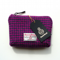 Pink houndstooth HARRIS TWEED makeup bag, cosmetics case