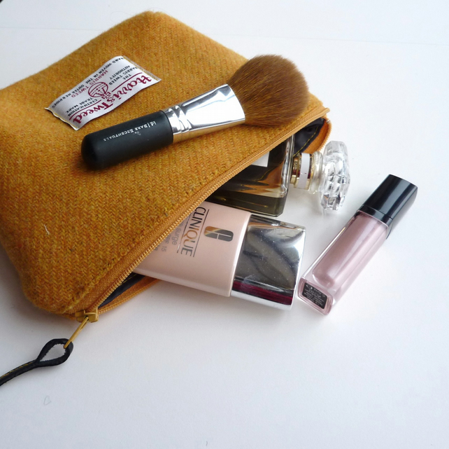 Makeup bag, cosmetics case in yellow HARRIS TWEED