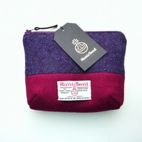 Make-up bag, Harris Tweed cosmetics case, padded and waterproof lining