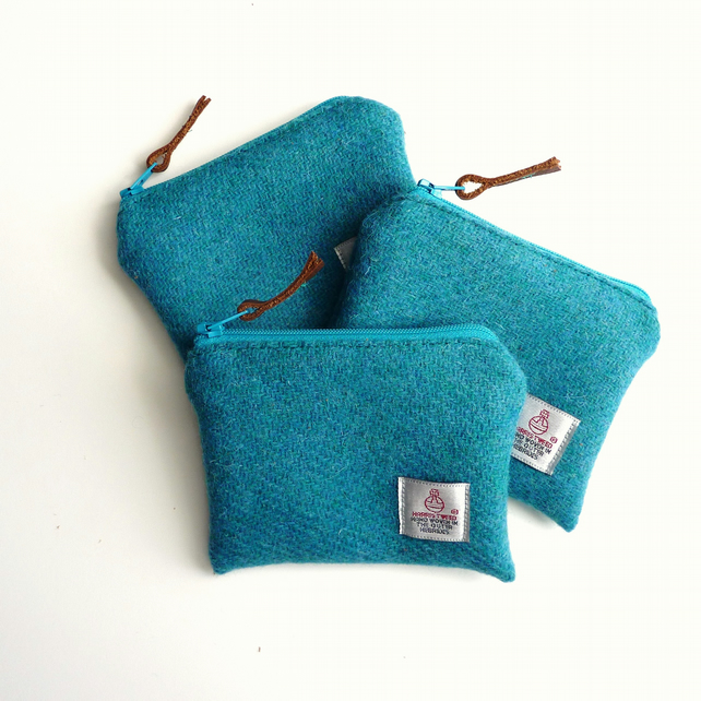 Turquoise Harris Tweed change or coin purse, zipped pouch