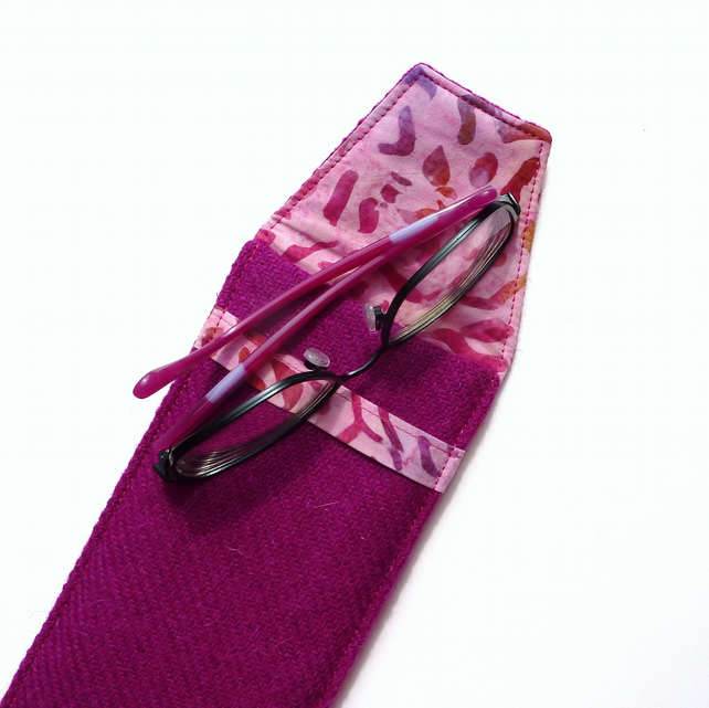 Fuchsia pink Harris Tweed glasses case, sunglasses case