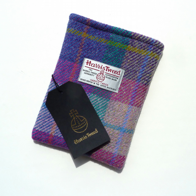 Kindle Voyage cover in pink, purple and jade Harris Tweed
