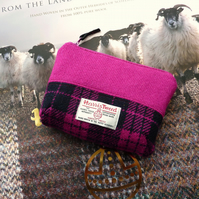 Pink HARRIS TWEED makeup bag, cosmetics case, padded and waterproof lining
