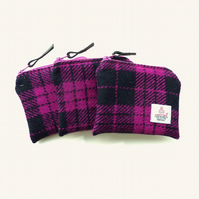 HARRIS TWEED coin purse in pink and navy tartan