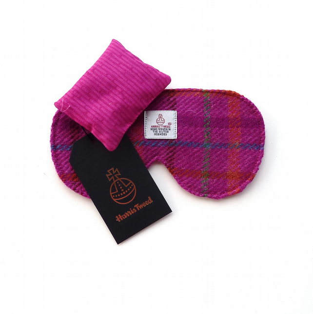 Pink  HARRIS TWEED sleep mask, eye mask or travel mask