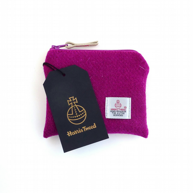 Pink purse - HARRIS TWEED coin purse - credit card holder - handbag organiser