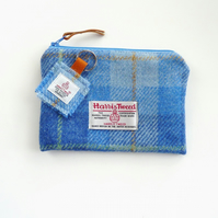 Pale blue tartan HARRIS TWEED makeup pouch, made in Scotland