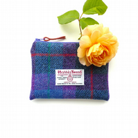Purple and blue tartan HARRIS TWEED makeup pouch, made in Scotland