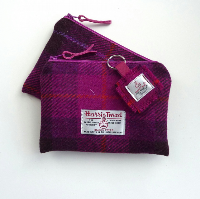 Fuchsia pink HARRIS TWEED makeup pouch, made in Scotland