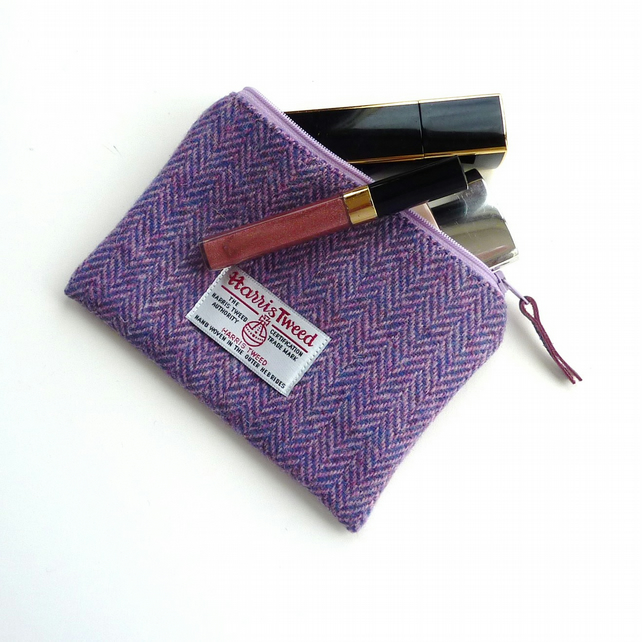 Lilac HARRIS TWEED Makeup bag