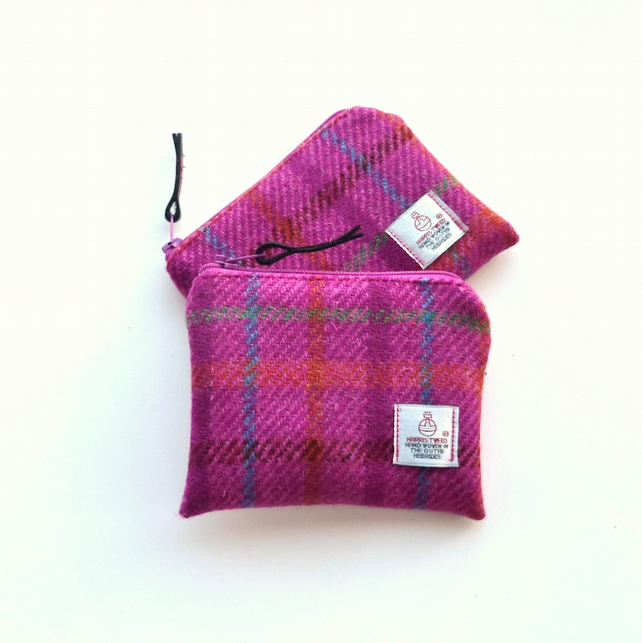 Pink HARRIS TWEED zipped purse, coin purse, change purse, credit card holder
