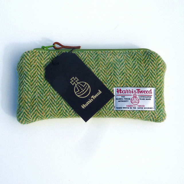 Green pencil case , Harris Tweed - lightly padded