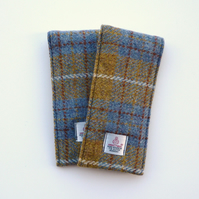 Glasses, specs case in mustard checked HARRIS TWEED