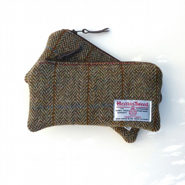 HARRIS TWEED pencil case, zippered pouch in brown and green herringbone