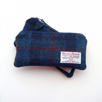 Pencil case in navy tartan Harris Tweed
