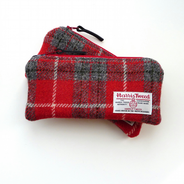 Pencil Case in red and grey plaid HARRIS TWEED