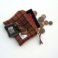 HARRIS TWEED coin purse in brown and orange check