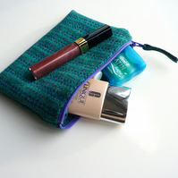 Jade HARRIS TWEED makeup bag, great gift for women, handmade in Scotland