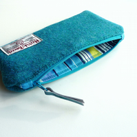 Turquoise HARRIS TWEED pencil case, blue wool padded pouch