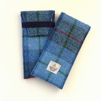 Glasses case, blue and grey tartan Harris Tweed , large sunglasses case