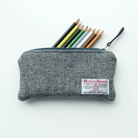 Harris Tweed grey pencil case,  lightly padded
