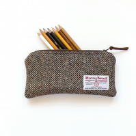 Brown herringbone pencil case , Harris Tweed - great teacher gift