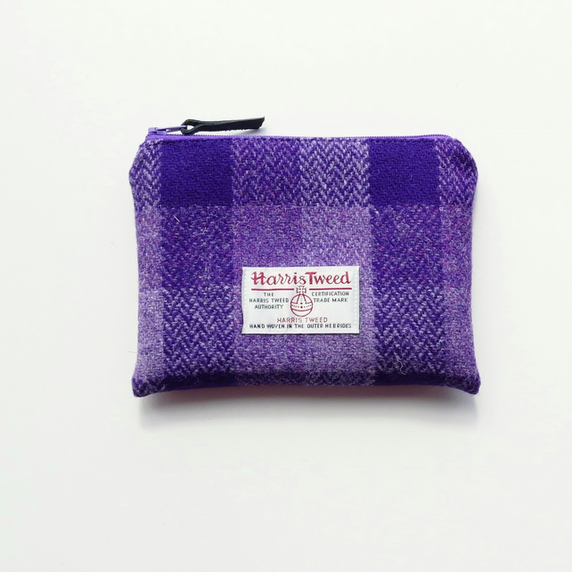 Small Purple HARRIS TWEED makeup bag, great gift for women
