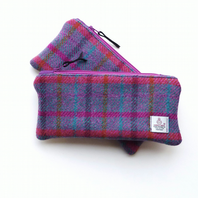 HARRIS TWEED pencil case, pink tartan, back to school gift