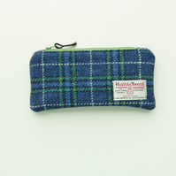 HARRIS TWEED pencil case, blue and green tartan, lightly padded