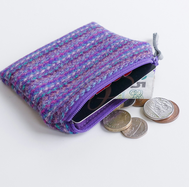 Small HARRIS TWEED purse, purple striped, great gift for women