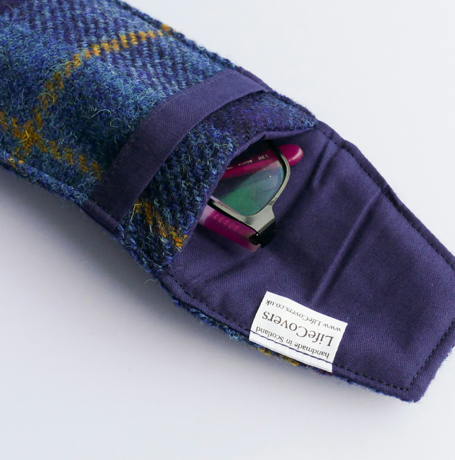 Navy glasses case, HARRIS TWEED tartan, gift for men