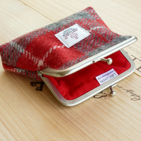 Coin purse, Clasp frame, red and grey Harris Tweed