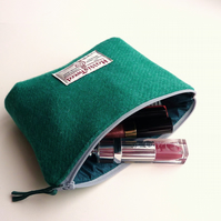 Jade wool makeup bag, HARRIS TWEED cosmetics case, padded with waterproof lining