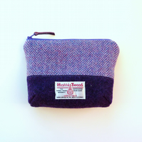 Purple and lilac Harris Tweed makeup bag, cosmetics case, padded