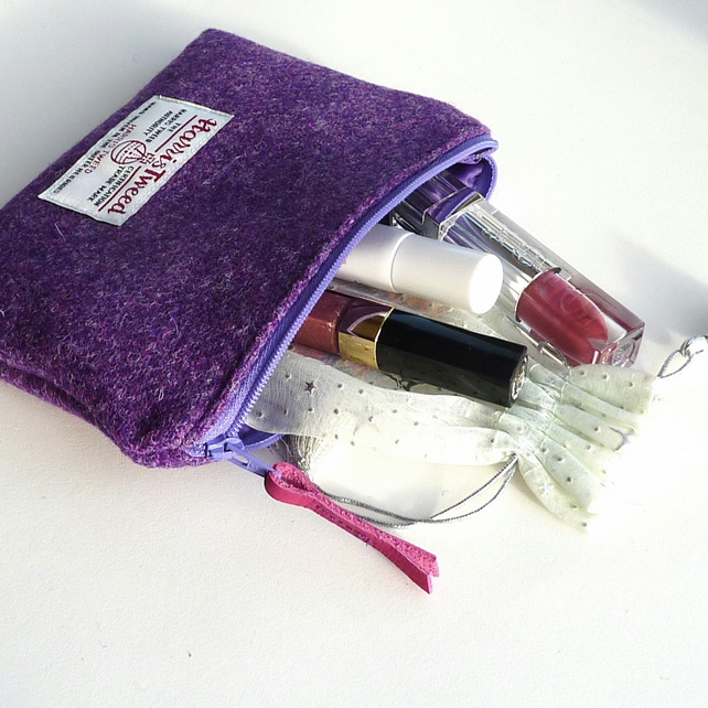 Purple Harris Tweed makeup bag