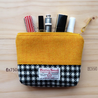 Large yellow Harris Tweed makeup bag, cosmetics case, padded