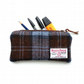 Harris Tweed brown tartan Pencil Case, padded and lined