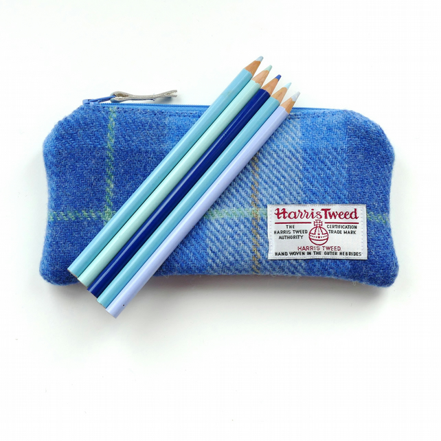 HARRIS TWEED pencil case in pale blue tartan