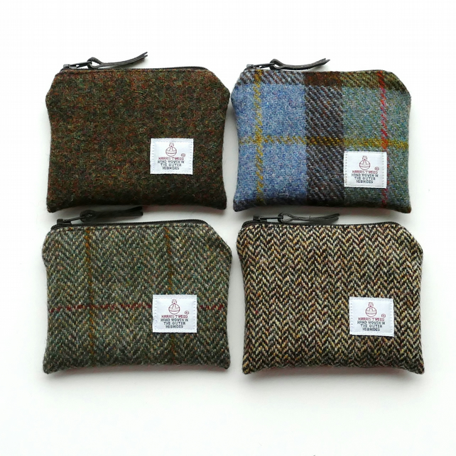 Brown coin pouch - HARRIS TWEED - choice of 4 colours - perfect gift for men