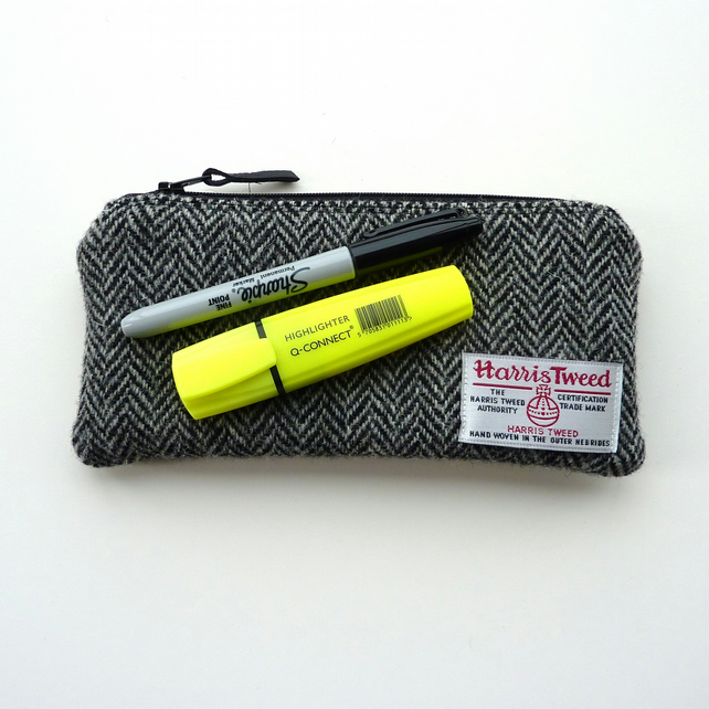 Pencil case for men, black and grey HARRIS TWEED herringbone